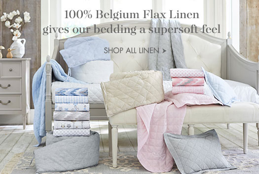 100% Belgium Flax Linen gives our bedding a supersoft feel.