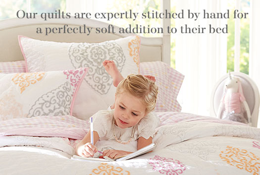 Our quilts are expertly stitched by hand for a perfectly soft addition to their bed.