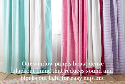 Our window panels boast dense blackout lining that reduces sound and blocks out light for easy naptime