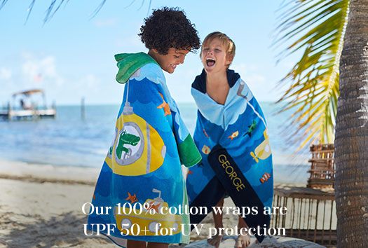 Our 100% cotton towels are UPF 50+ for UV protection