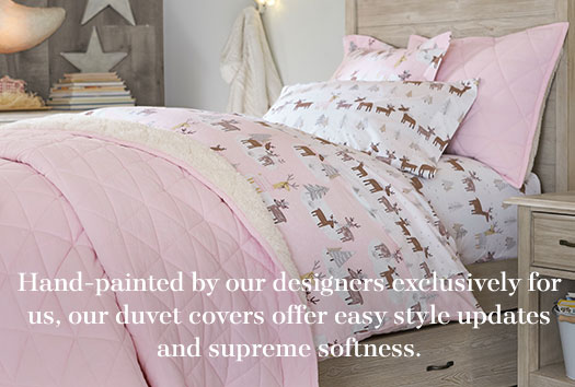 Hand-painted by our designers exclusively for us, our duvet covers offer easy style updates and supreme softness.