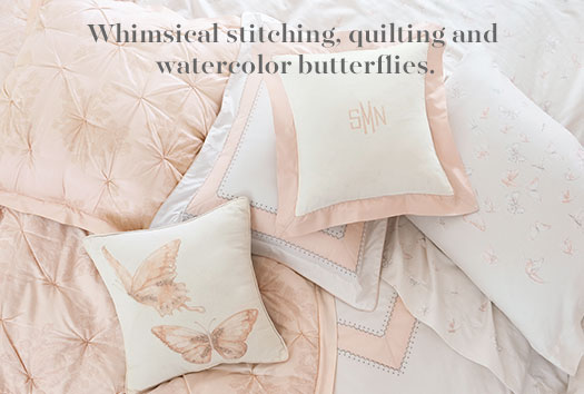 Whisical stitching, quilting and watercolor butterflies.