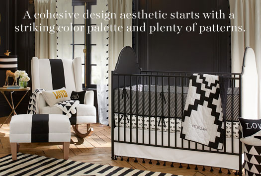A cohesive design aesthetic starts with a stricking color palette and plenty of patterns.