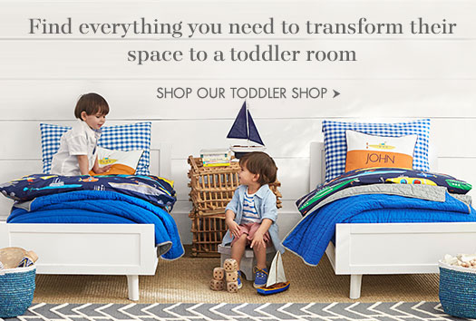 Find everything you need to transform their space to a toddler room.