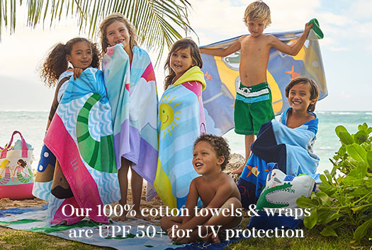 Our 100% cotton towels & wraps are UPF 50+ for UV protection