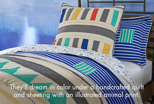 They'll dream in color under a handcrafted quilt and sheeting with an illustrated animal print.