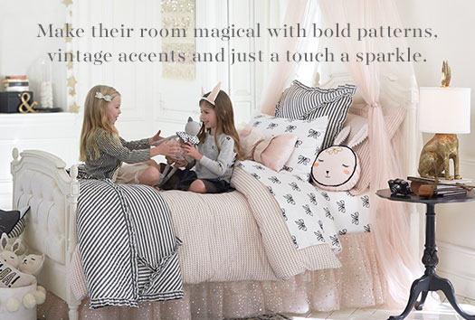 Make their room magical with bold patterns, vintage accents and just a touch a sparkle.