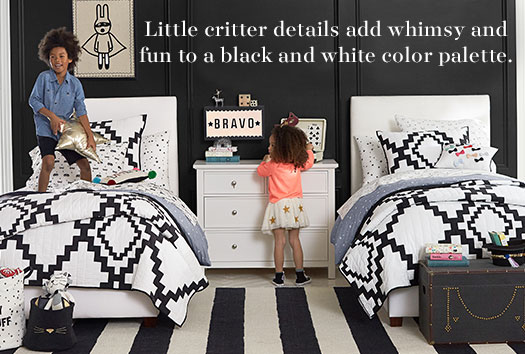 Little critter details add whimsy and fun to a black and white color palette.