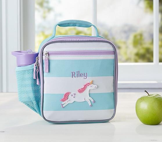 Fairfax Aqua/White Stripe Lunch Bag