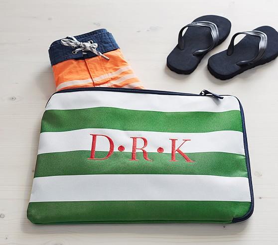 Fairfax Green/White Stripe Wet/Dry Bag