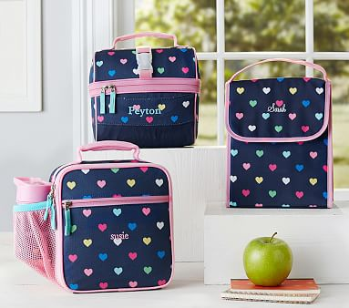 Mackenzie Navy Multicolor Heart Lunch Bag Pottery Barn Kids