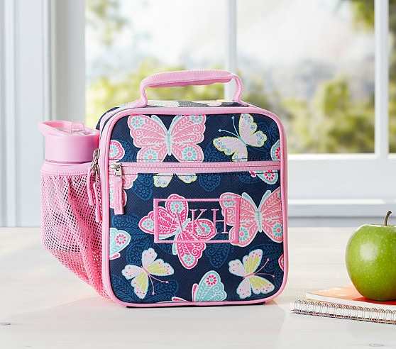 Mackenzie Navy Pretty Butterfly Lunch Bag