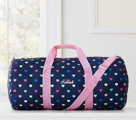 Navy Multicolor Heart Duffle Bag