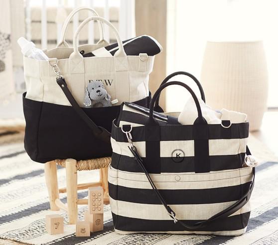 natural black stripe fillmore diaper bag pottery barn kids. Black Bedroom Furniture Sets. Home Design Ideas