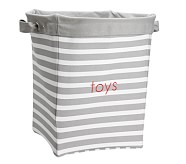 Gray Breton Stripe Canvas Storage, Large