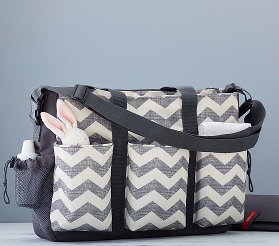 chevron skip hop double duo diaper bag pottery barn kids. Black Bedroom Furniture Sets. Home Design Ideas