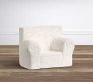 Ivory Plush Fur My First Anywhere Chair