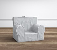 My First Anywhere Chair® - Gray Belgian Flax Linen with White Pipe