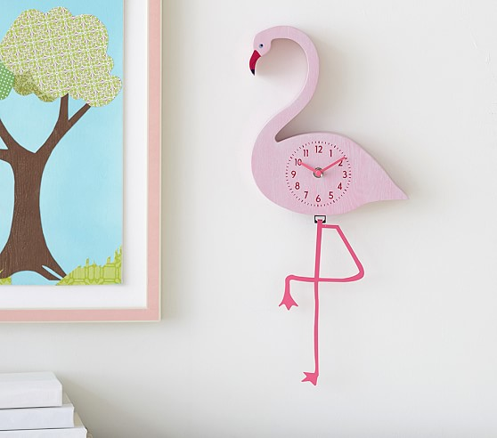 Flamingo Pendulum Clock Pottery Barn Kids