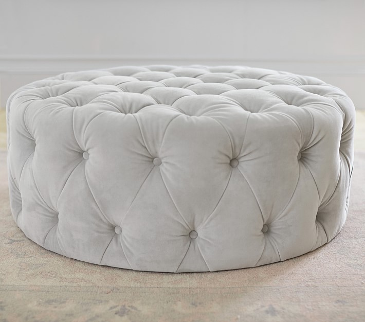 Monique Lhuillier Round tufted ottoman