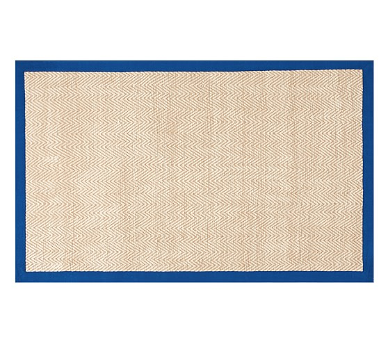 Chenille Jute Thick Solid Border Rug Nautical Blue