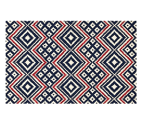 Chunky chevrogram rug red navy pottery barn kids for Red and navy rug