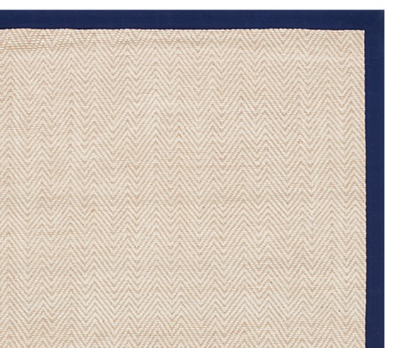 Chenille Jute Thick Solid Border Rug Navy Pottery Barn