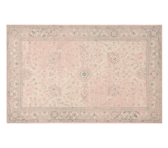 Monique Lhuillier Printed Rug Blush Pink Pottery Barn Kids