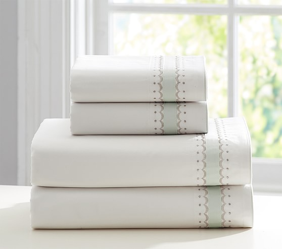 Monique Lhuillier Garden Cuff Sateen Sheet Set