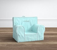 My First Anywhere Chair® - Aqua Belgian Flax Linen with White Pipe