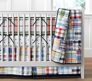 Madras Nursery Quilt Bedding Set: Toddler Quilt, Crib Skirt & Crib Fitted Sheet
