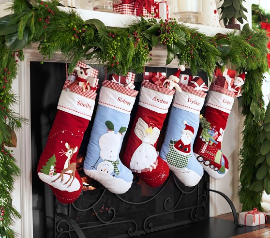 Classic Quilted Stocking Collection Pottery Barn Kids