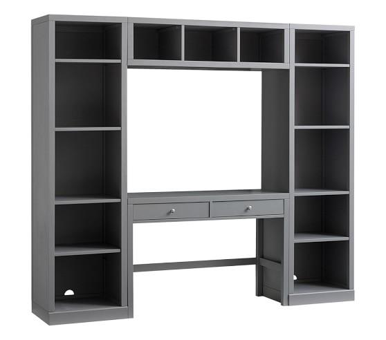 New Bookcase Toy Box White Finish Bedroom Playroom Child: Preston Desk & Storage Wall System