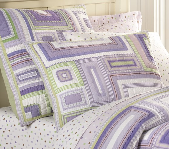 Pottery Barn Kids Pink And Green Patchwork: Katie Patchwork Quilted Bedding