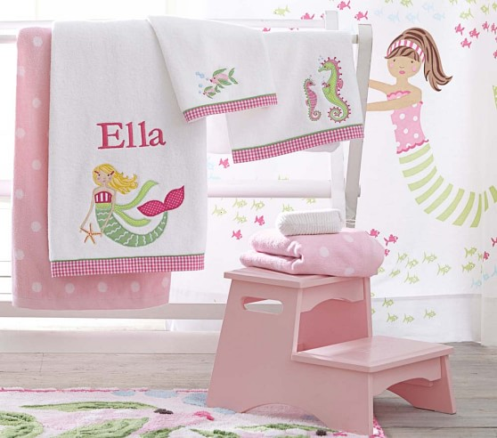 mermaid bath towel collection pottery barn kids. Black Bedroom Furniture Sets. Home Design Ideas