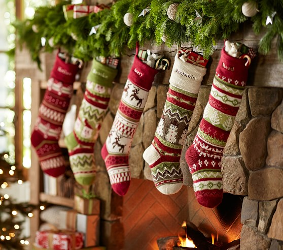 Red Reindeer Classic Fair Isle Stocking Pottery Barn Kids