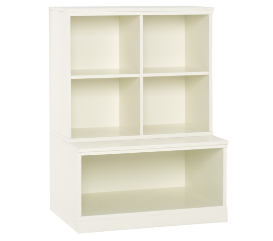 New Bookcase Toy Box White Finish Bedroom Playroom Child: Cameron Cubby & Open Base Set