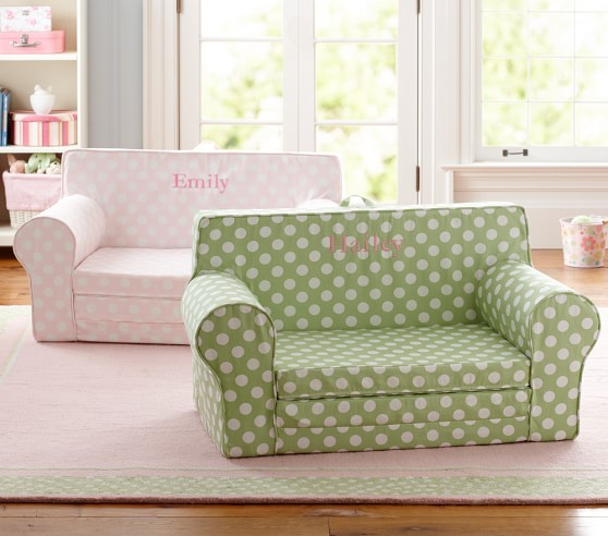 Green Dot Fold Out Anywhere Lounger Pottery Barn Kids