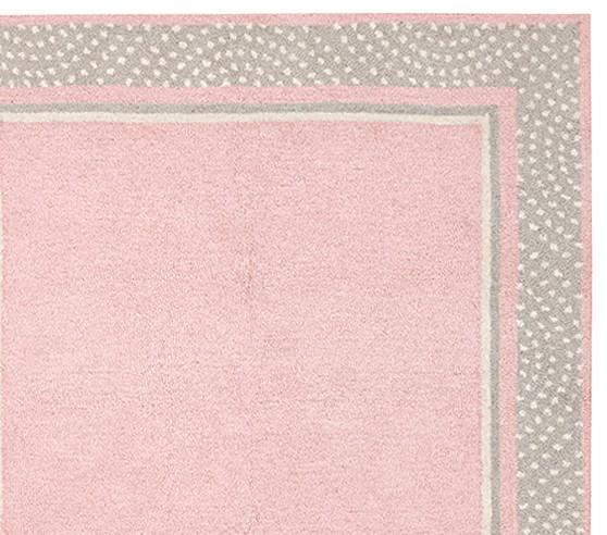 Polka Dot Border Rug - Pink/Gray