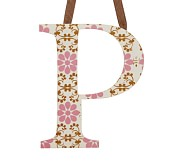 Printed Letter, P, Pink Floral