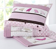 Penelope Small Quilted Sham, Pink/Chocolate