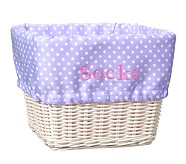 Large Sabrina Basket Mini Dot Liner, Lavender Mini Dot