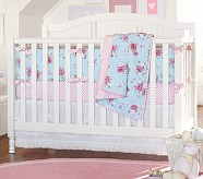 Savannah Bumper Bedding Set: Crib Fitted Sheet, Crib Bumper & Crib Skirt, Blue