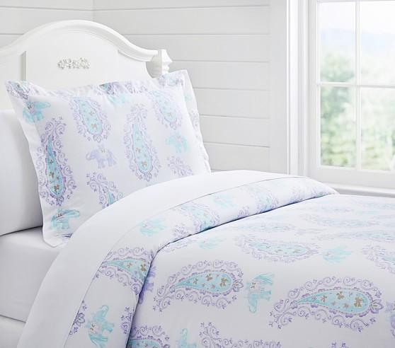 Elyse Duvet Cover, Twin, Lavender/Aqua