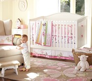 Camille Butterfly Nursery Set: Crib Fitted Sheet, Toddler Quilt & Crib Skirt