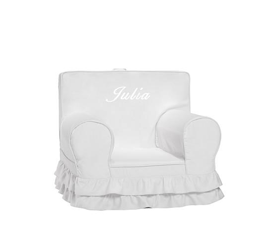 Anywhere Chair Slipcover, Gray Luxe Ruffle