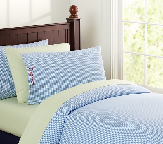 Gingham Duvet Cover, Twin, Blue