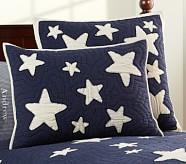 Star Quilted Sham, Standard, Navy