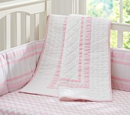 Harper Chevron Nursery Quilt Bedding Set: Crib Fitted Sheet, Toddler Quilt & Crib Skirt, Light Pink
