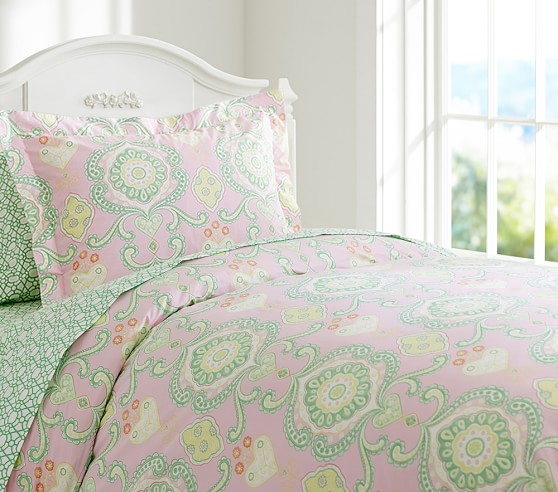 Claudia Medallion Duvet Cover, Twin, Pink/Green